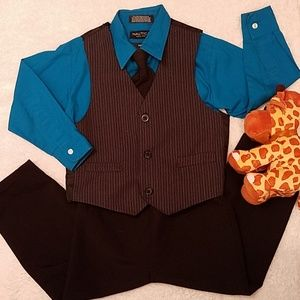 Coordinating Set of Dress Shirt, Vest & Pants  4T